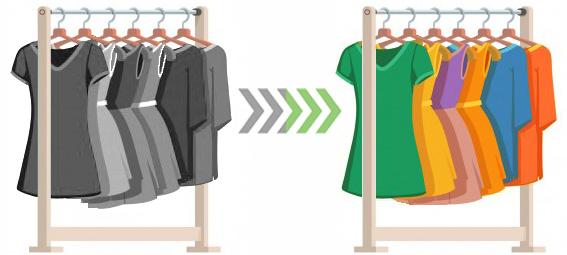 avant après garde-robe analyse couleurpassage du noir et blanc à la couleur